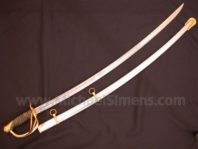 CIVIL WAR 1860 AMES CAVALRY OFFICERS SABRE WITH RARE BRASS MOUNTS.