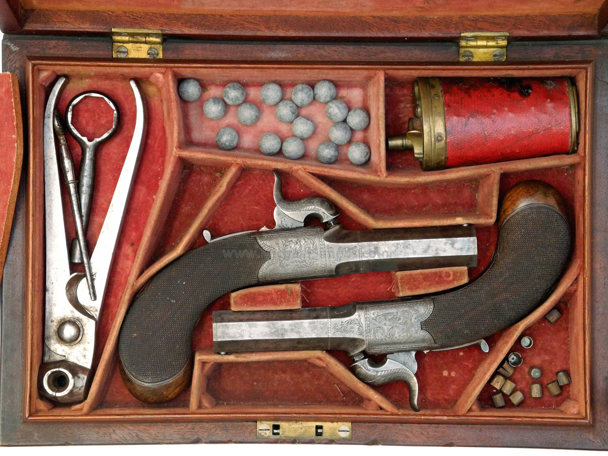 CASED MUFF PISTOLS BY T. HUTCHINSON, LONDON