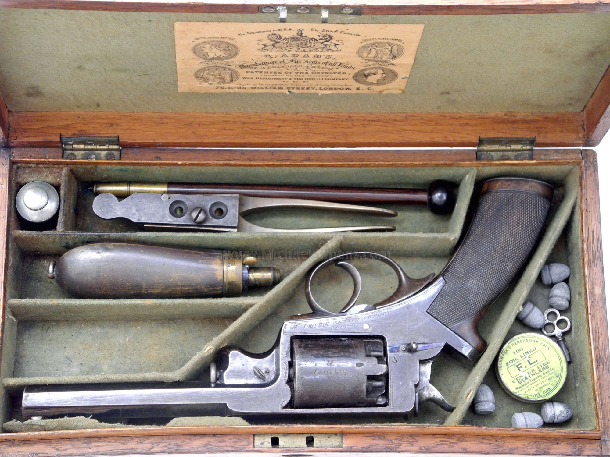 "CASED ""CONFEDERATE?"" ENGLISH ADAMS REVOLVER FOR SALE"
