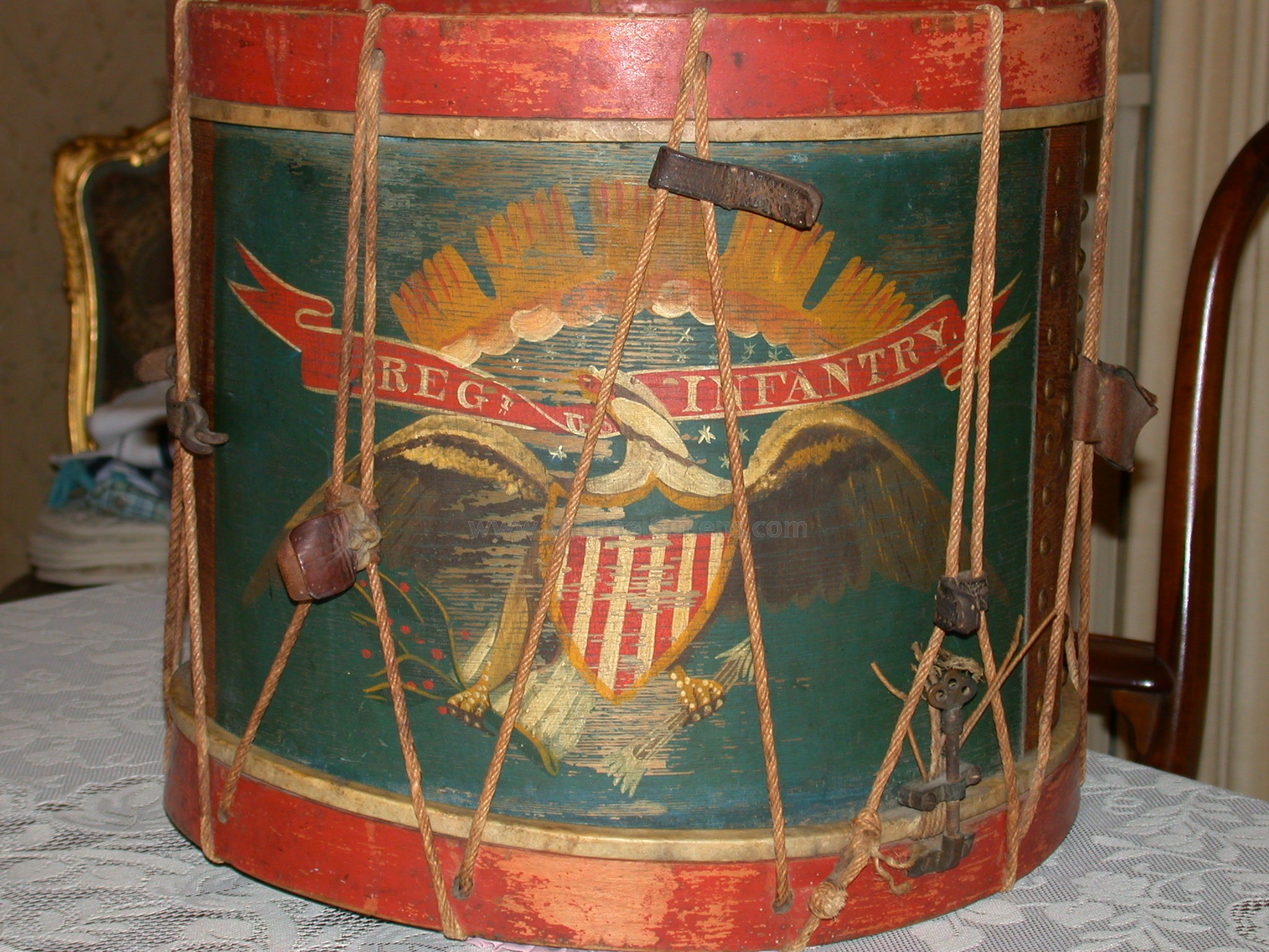Antique Civil War Regimental Drum