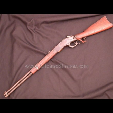 1873 WINCHESTER SADDLE-RING CARBINE, FIRST MODEL WITH THUMBPRINT DUST COVER.