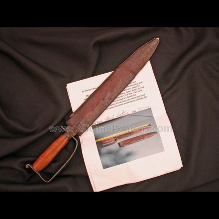 ORIGINAL, ANTIQUE CONFEDERATE D-GUARD BOWIE KNIFE WITH SCABBARD, IDENTIFIED BY FAMILY LETTER TO THE SOLDIER THAT USED IT.