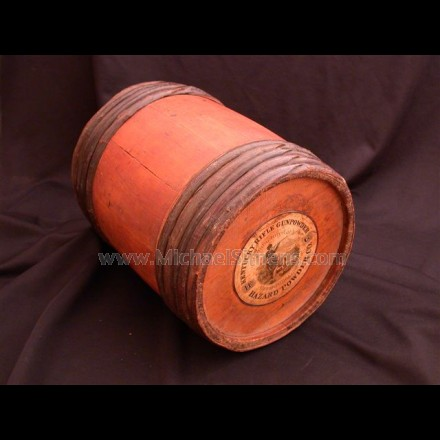 "ORIGINAL ANTIQUE POWDER KEG FROM ""HAZARD POWDER COMPANY""."