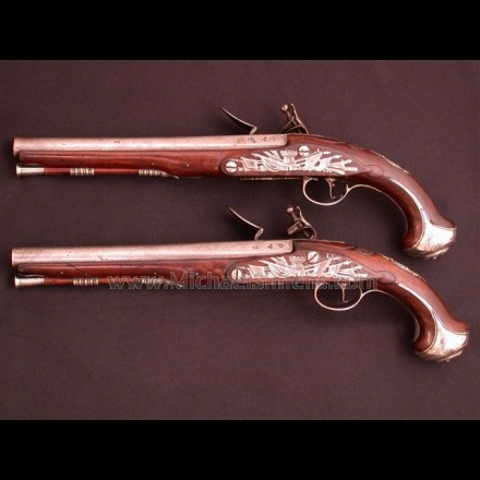 SILVER MOUNTED BRITISH OFFICERS PISTOLS