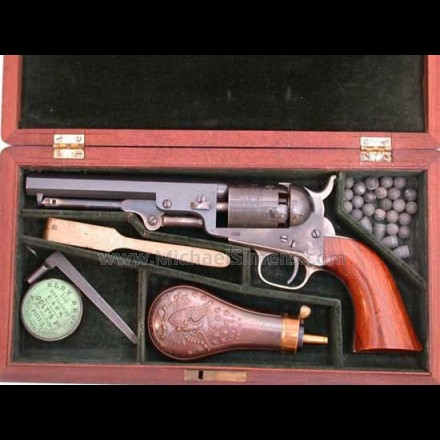 ANTIQUE COLT  1849 POCKET REVOLVER, CASED COLT REVOLVER