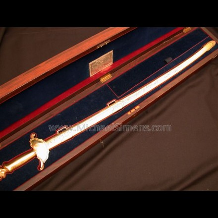 MEXICAN WAR SWORD WITH STUNNING PRESENTATION FROM THE STATE OF ILLINOIS
