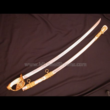 CIVIL WAR CAVALRY SABRE, OFFICERS PRESENTATION GRADE CAVALRY SABRE BY EMERSON & SILVER AND EMBELLISHED BY J.J. HIRSHBUHL OF LOUISVILLE, KENTUCKY.