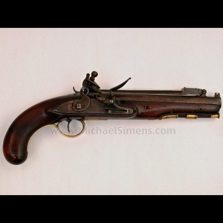 BRITISH FLINTLOCK PISTOL WITH SPRING LOADED SWORD BAYONET.