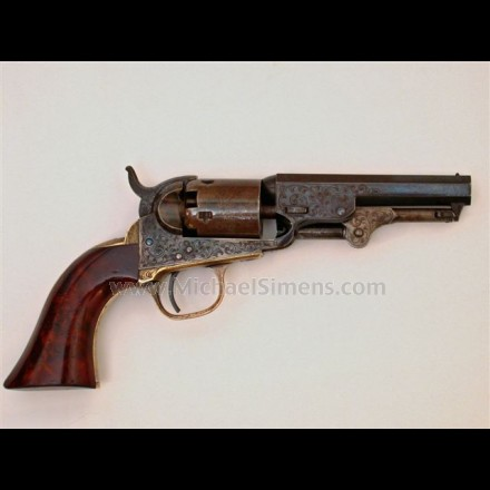 "ANTIQUE COLT REVOLVER - UNUSUAL, FACTORY ENGRAVED COLT POCKET REVOLVER WITH 4"" BARREL."