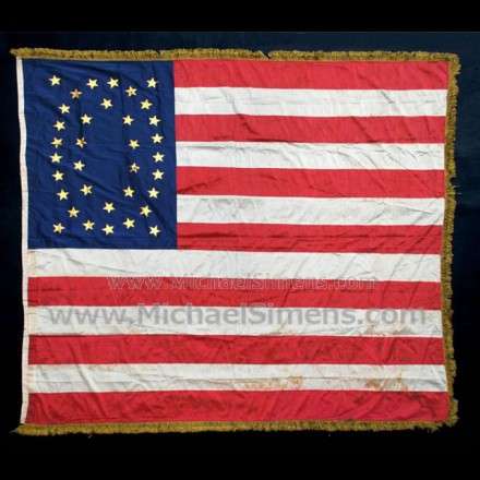 ANTIQUE CIVIL WAR FLAG, U. S. REGIMENTAL COLOR.