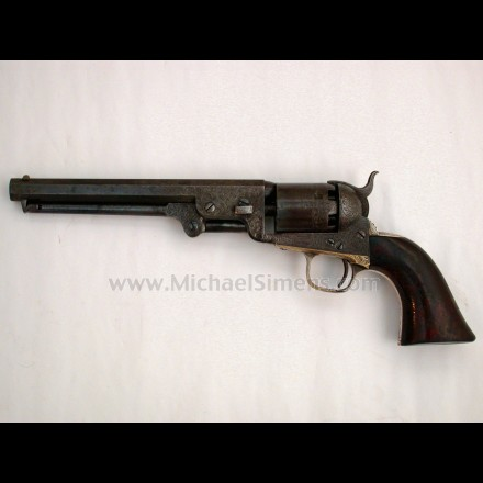 ENGRAVED COLT NAVY REVOLVER, CONFEDERATE INSCRIBED