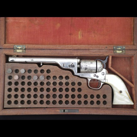 COLT OPEN-TOP REVOLVER, INSCRIBED AND CASED W/FACTORY PEARL GRIPS - MICHAEL SIMENS