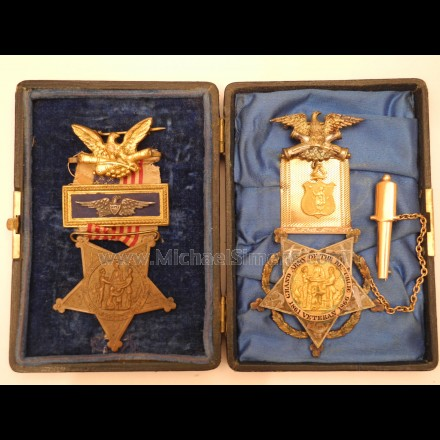 GOLD GAR MEDAL & CIVIL WAR VETERAN MEDAL