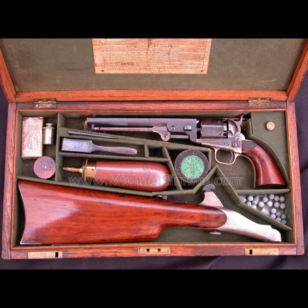 COLT 1851 NAVY REVOLVER MATCHING SHOULDER STOCK, COLT PRESENTATION, INSCRIBED