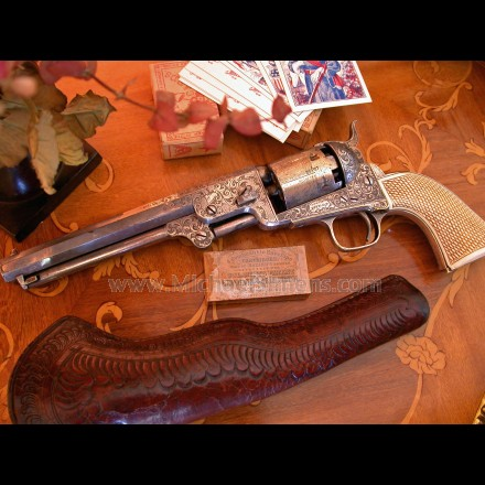 COLT, MODEL 1851 NAVY REVOLVER, FACTORY ENGRAVED AND GOLD & SILVER WASHED.