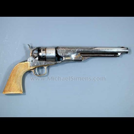 COLT 1860 ARMY REVOLVER, FACTORY ENGRAVED WITH FACTORY IVORY GRIPS.