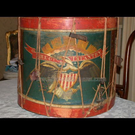 ANTIQUE CIVIL WAR REGIMENTAL DRUM.