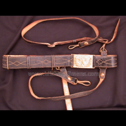 CIVIL WAR OFFICERS SWORD BELT, HANGERS AND STRAPS.