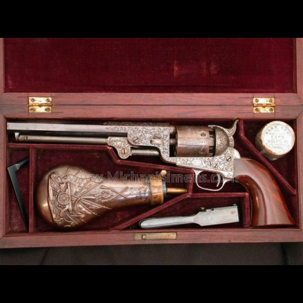 COLT 1851 NAVY REVOLVER, FACTORY ENGRAVED COLT PRESENTATION AND CASED WITH ALL ACCESSORIES.