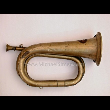 CIVIL WAR BUGLE, MAKER-MARKED AND INSCRIBED & IDENTIFIED.
