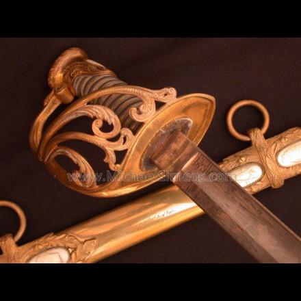 CIVIL WAR OFFICERS SWORD, SAUERBIER STAFF & FIELD OFFICERS PRESENTATION SWORD