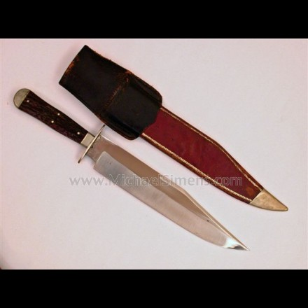 ANTIQUE BOWIE KNIFE BY GEORGE WOLSTENHOLM, INSCRIBED AND IDENTIFIED TO A CIVIL WAR CAPTAIN FROM MASSACHUSETTS.