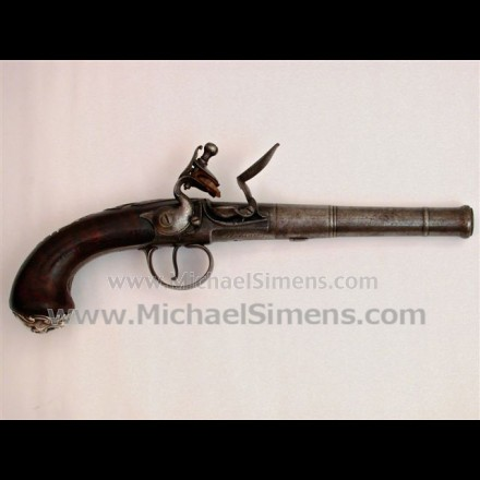 QUEEN ANNE STYLE SILVER-MOUNTED OFFICERS PISTOL.