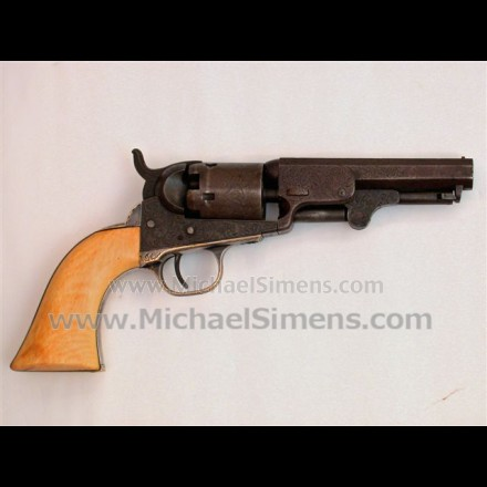 ANTIQUE COLT REVOLVER, ENGRAVED