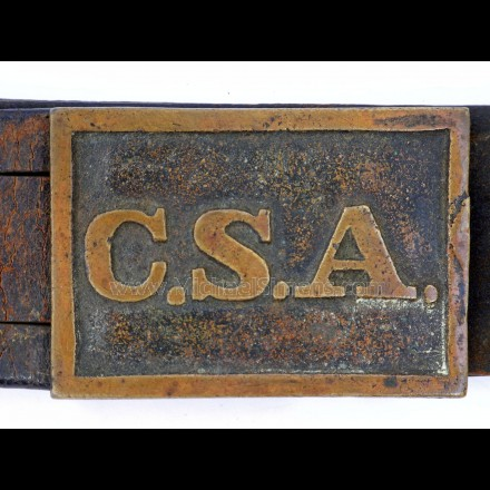 "CONFEDERATE ""CSA"" RECTANGULAR BELT PLATE"