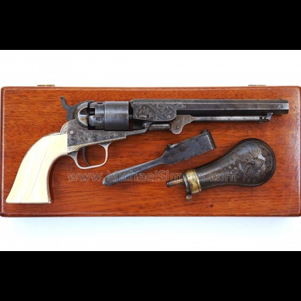 CASED, ENGRAVED COLT POCKET NAVY REVOLVER